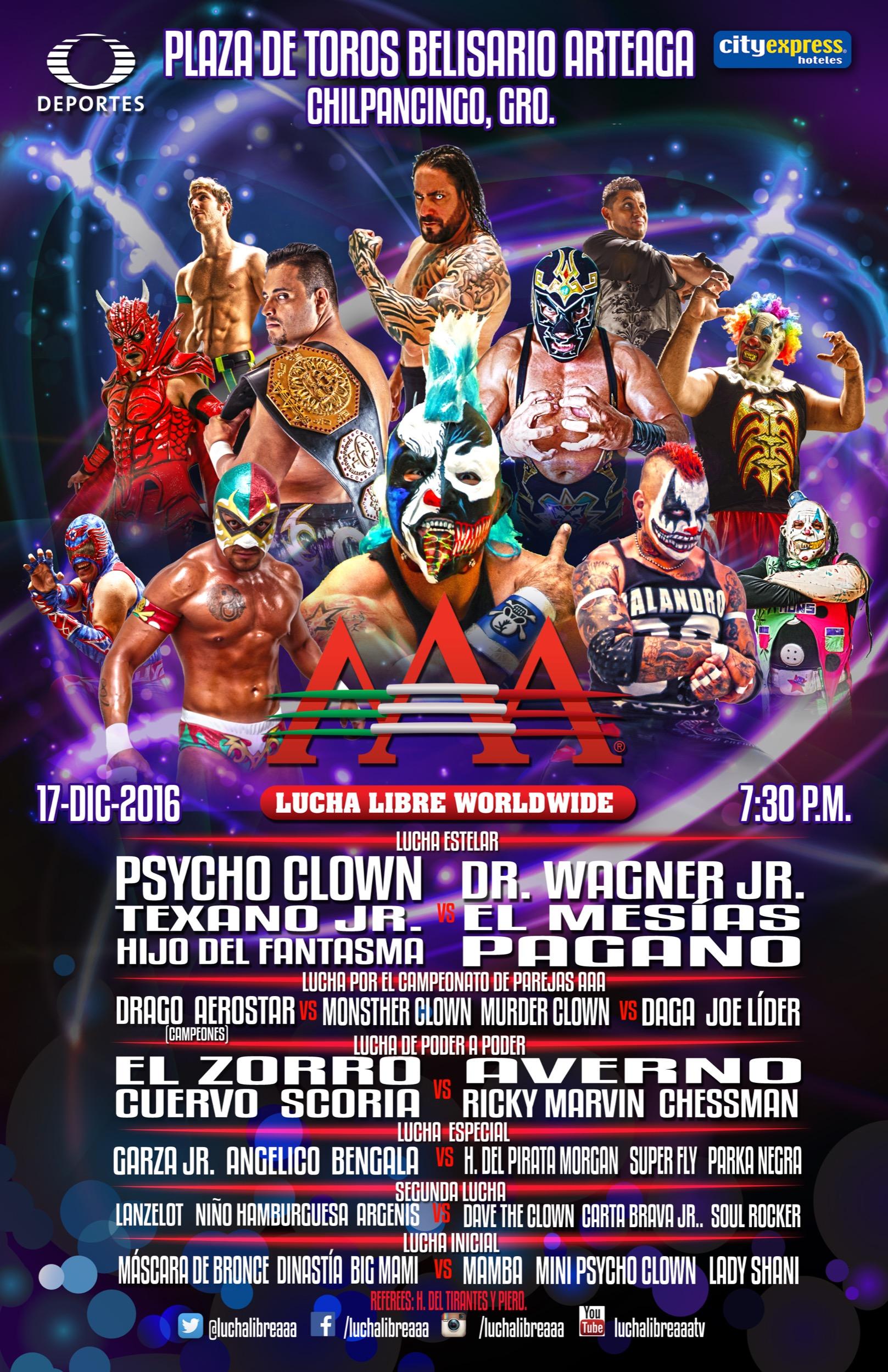 Cartel completo: AAA en Chilpancingo 2016